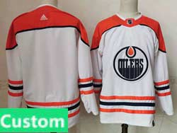Mens Women Youth Nhl Edmonton Oilers Custom Made White 2021 Reverse Retro Alternate Adidas Jersey