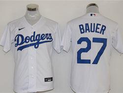 Mens Mlb Los Angeles Dodgers #27 Trevor Bauer White Cool Base Nike Jersey