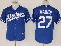 Mens Mlb Los Angeles Dodgers #27 Trevor Bauer Blue Cool Base Nike Jersey