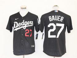 Mens Mlb Los Angeles Dodgers #27 Trevor Bauer Black Cool Base Nike Jersey