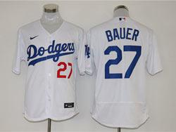 Mens Mlb Los Angeles Dodgers #27 Trevor Bauer White Nike Flex Base Jersey