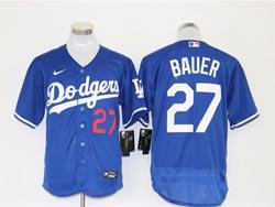 Mens Mlb Los Angeles Dodgers #27 Trevor Bauer Blue Nike Flex Base Jersey