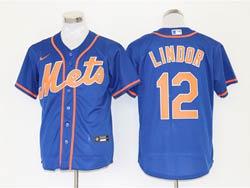 Mens Mlb New York Mets #12 Francisco Lindor Blue Cool Base Nike Jersey