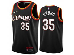 Mens 2021 Nba Cleveland Cavaliers #35 Isaac Okoro Black City Edition Swingman Nike Jersey