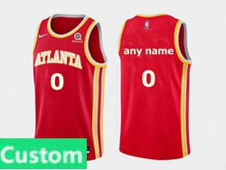 Mens Women Youth Nba Atlanta Hawks Custom Made Red 2020-21 Icon Edition Swingman Nike Jersey