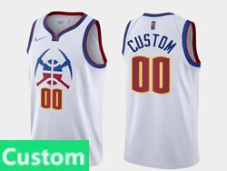 Mens Womens Youth 2021 Nba Denver Nuggets Custom Made White Earned Edition Nike Swingman Jersey