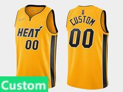 Mens Womens Youth 2021 Nba Miami Heat Custom Made Yellow Earned Edition Nike Swingman Jersey