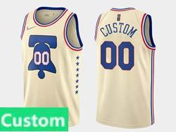 Mens Womens Youth 2021 Nba Philadelphia 76ers Custom Made Cream Earned Edition Nike Swingman Jersey