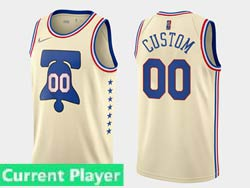 Mens Womens Youth 2021 Nba Philadelphia 76ers Current Player Creaam Earned Edition Nike Swingman Jersey