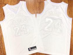 Mens Nba Los Angeles Lakers #24 Kobe Bryant Triple White Embroidery Commemorative Swingman Nike Jersey