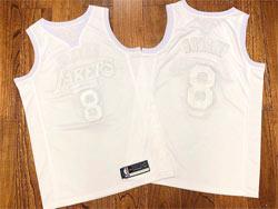 Mens Nba Los Angeles Lakers #8 Kobe Bryant Triple White Embroidery Commemorative Swingman Nike Jersey