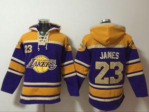 Mens Nba Los Angeles Lakers #23 Lebron James Purple&gold Team Logo Hoodie Jersey