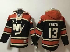Mens Nhl New York Islanders #13 Mathew Barzal Dark Blue Hoodie Jersey