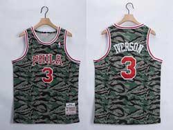 Mens Nba Philadelphia 76ers #3 Allen Iverson Camo Mitchell&ness Hardwood Classics Swingman Jersey