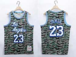 Mens 2021 Nba Los Angeles Lakers #23 Lebron James Camo Mitchell&ness Hardwood Classics Swingman Jersey