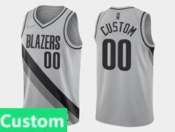 Mens Womens Youth 2021 Nba Portland Trail Blazers Custom Made Gray Earned Edition Nike Swingman Jersey