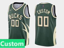 Mens Womens Youth 2021 Nba Milwaukee Bucks Custom Made Green Earned Edition Nike Swingman Jersey