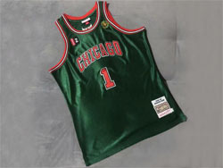 Mens Nba Chicago Bulls #1 Derrick Rose Green 2008-09 Mitchell&ness Hardwood Classics Swingman Jersey
