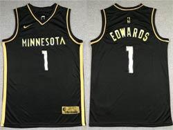 Mens 2021 Nba Minnesota Timberwolves #1 Anthony Edwards Black Golden Nike Swingman Jersey