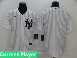 Mens Womens Youth Mlb New York Yankees White Stripe Current Player Cool Base Nike 2020 Home Jersey No Name