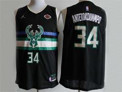 Mens 2021 Nba Milwaukee Bucks #34 Giannis Antetokounmpo Black New Patch Jordan Jersey