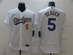 Mens Mlb Los Angeles Dodgers #5 Corey Seager White Golden Purple Number Flex Base Champions Jersey