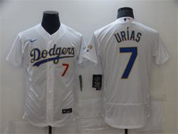 Mens Mlb Los Angeles Dodgers #7 Julio Urias White Golden Purple Number Flex Base Champions Jersey