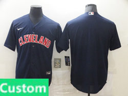 Mens Womens Youth Mlb Cleveland Indians Custom Made Dark Blue Cool Base Nike Jersey