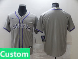 Mens Womens Youth Mlb Nike Colorado Rockies Custom Made Gray Cool Base Nike Jersey