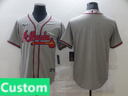 Mens Womens Youth Mlb Atlanta Braves Gray Custom Made Cool Base Nike Jersey