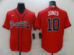 Mens Mlb Atlanta Braves #10 Chipper Jones Red Cool Base Nike Jersey