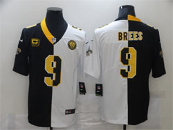 Mens 2021 Nfl New Orleans Saints #9 Drew Brees Black&white Split Peaceful Vapor Untouchable Limited Jersey