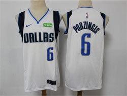 Mens Nba Dallas Mavericks #6 Kristaps Porzingis White With Chime Patch Nike Swingman Jersey