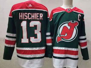 Mens Nhl New Jersey Devils #13 Nico Hischier Green 2021 Reverse Retro Alternate Adidas Jersey