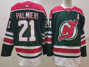Mens Nhl New Jersey Devils #21 Kyle Palmieri Green 2021 Reverse Retro Alternate Adidas Jersey