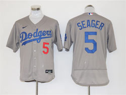 Mens Mlb Los Angeles Dodgers #5 Corey Seager Gray Nike Flex Base Jersey