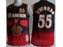 Mens Nba Atlanta Hawks Custom Made Black Red Mitchell&ness Hardwood Classics Swingman Jersey